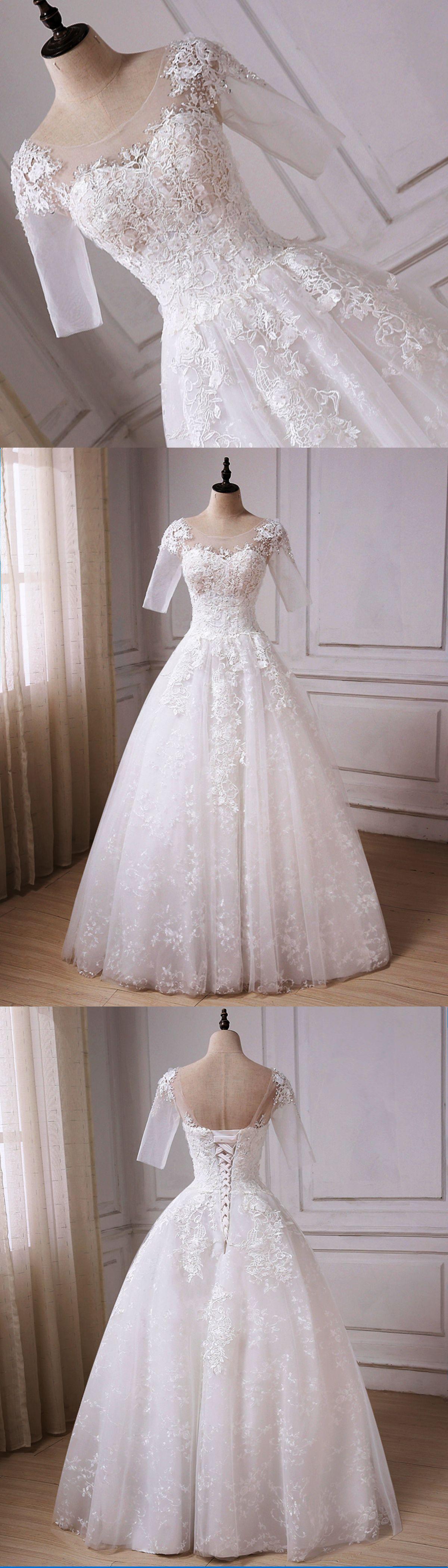 Elegant white tulle mid sleeve long lace aline wedding dress with