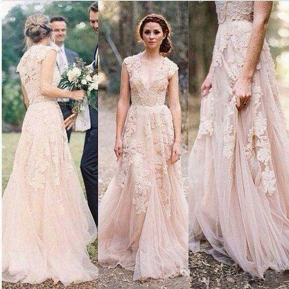 Elfenbein V Cut Lace Wedding Dress Boho Von Bailynnbounique Auf Etsy