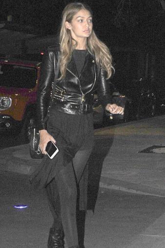 Gigi Hadid wearing Versace Biker Jacket