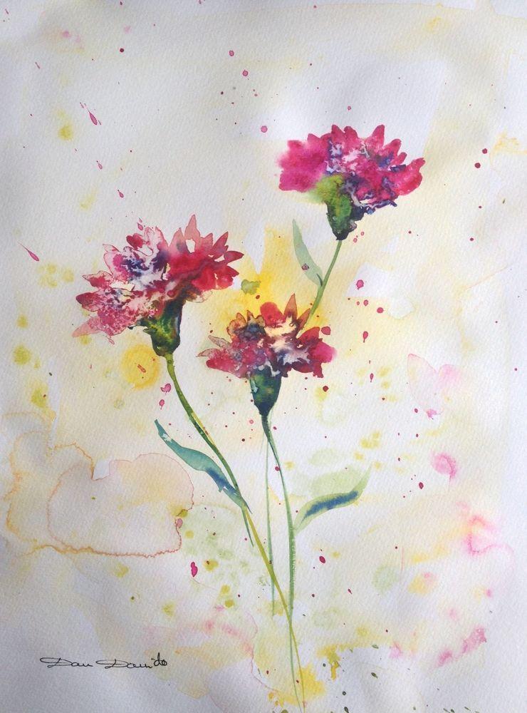 Aquarelle Originale Dam Domido Oeillets En Fleurs Flower Akoun
