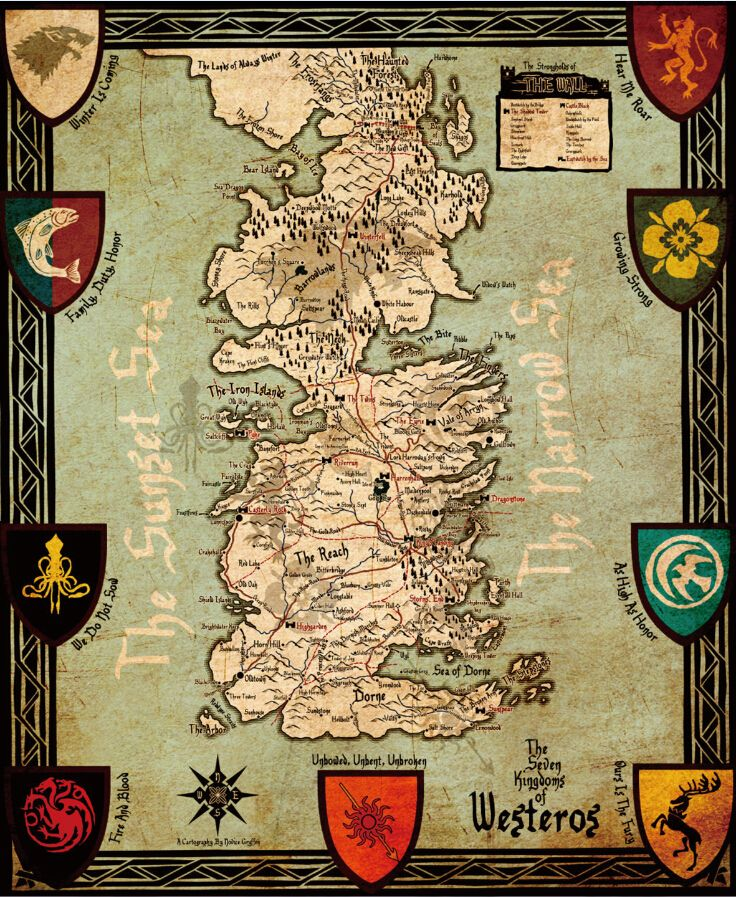 Game of Thrones Map Poster, Home Wall Decor   Wall decor and Gaming