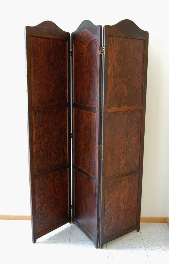 Antique Room Divider Screen Bifold Solid Wood Tall Folding Three Panel Early 20th Century 1910 1920 Divider Screen Room Divider Screen Antiques