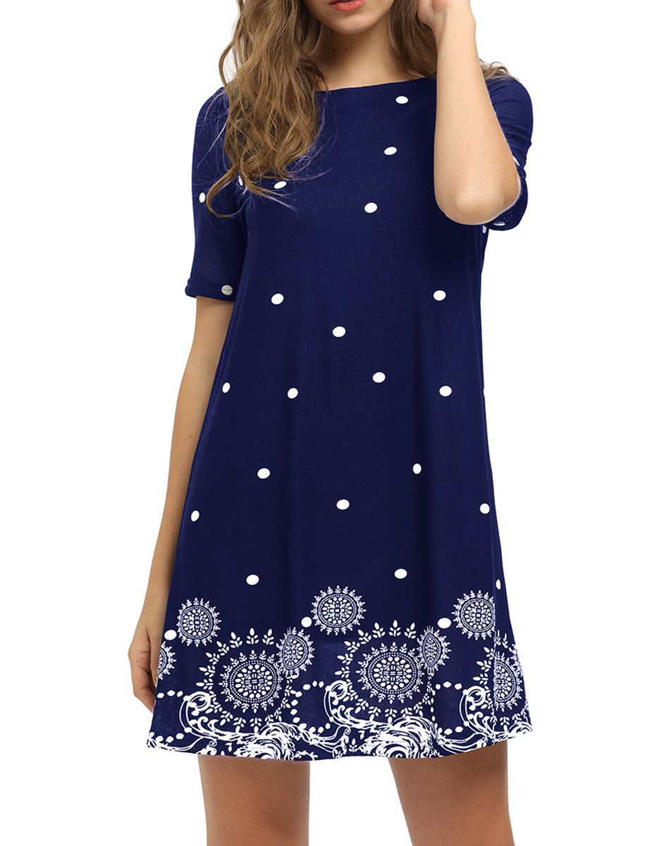 f252484f82e1d Romwe Womens Short Sleeve Floral Print Summer Beach Casual Loose Tunic Dress  Navy L >>> Find out more about the great product at the image link.