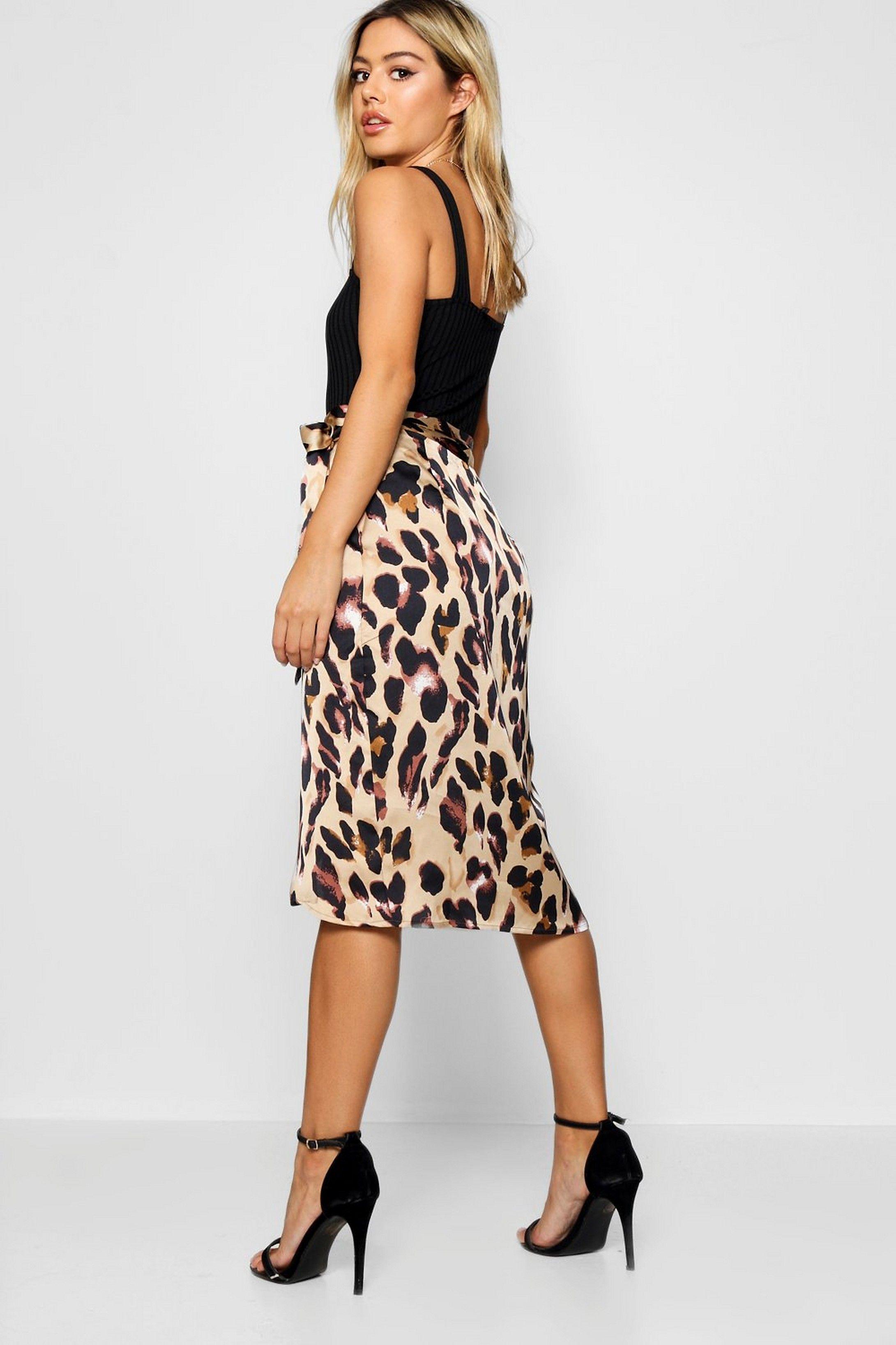 43b56faee3 Petite Leopard Print Satin Wrap Midi Skirt in 2019   leopard ladies ...