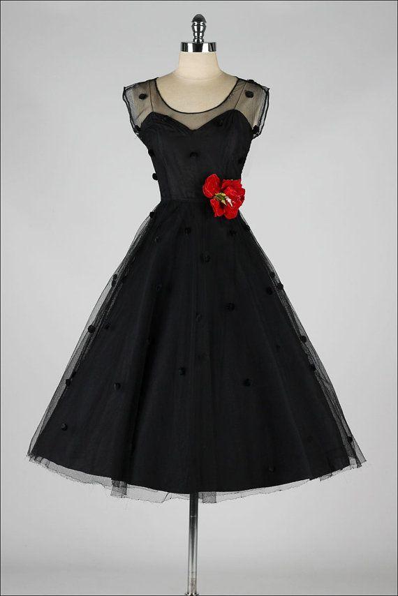 vintage 1950s dress . black pom pom mesh by millstreetvintage