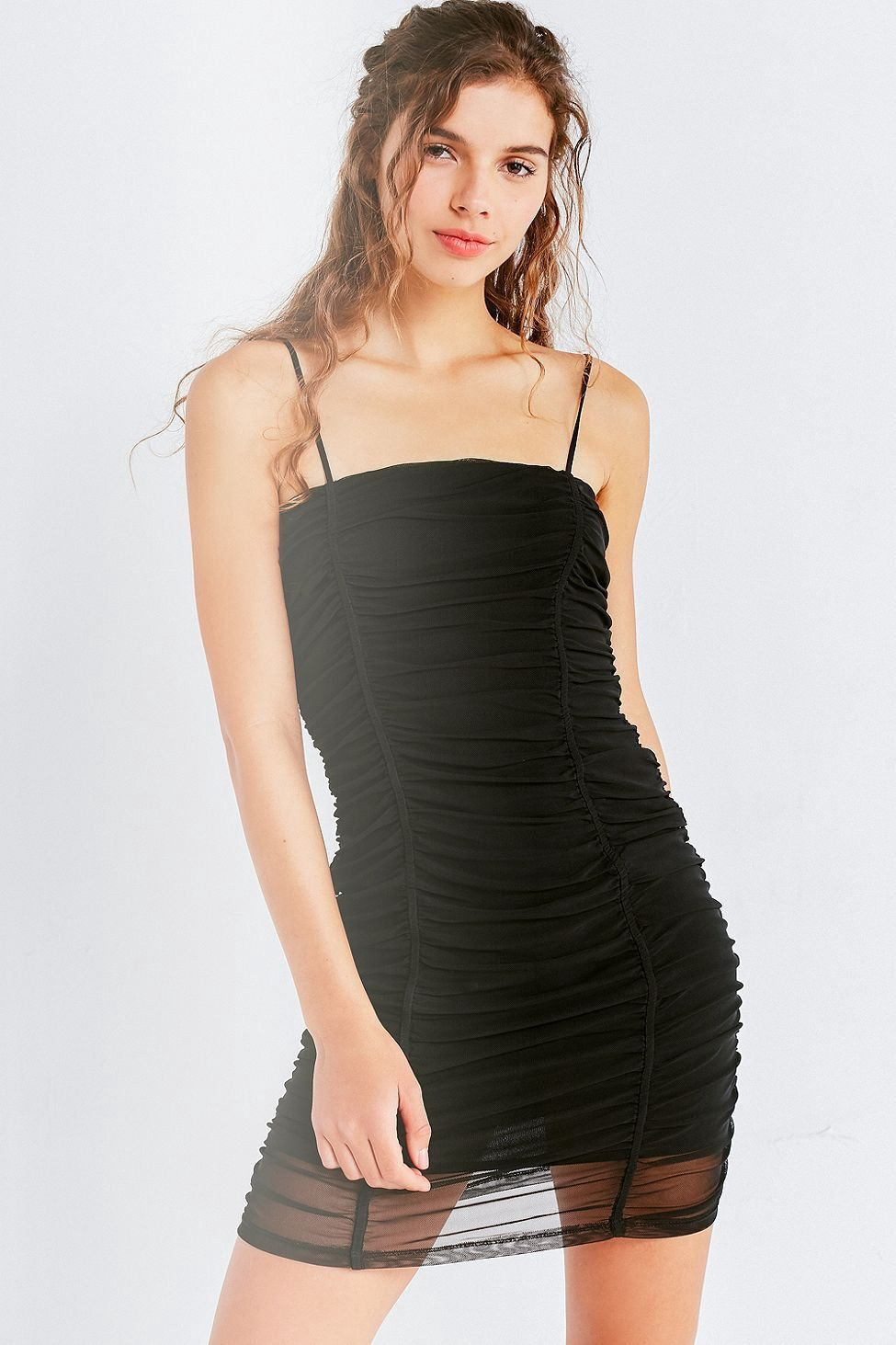 2013fd35fdb UO Ruched Mesh Bodycon Mini Dress by Urban Outfitters