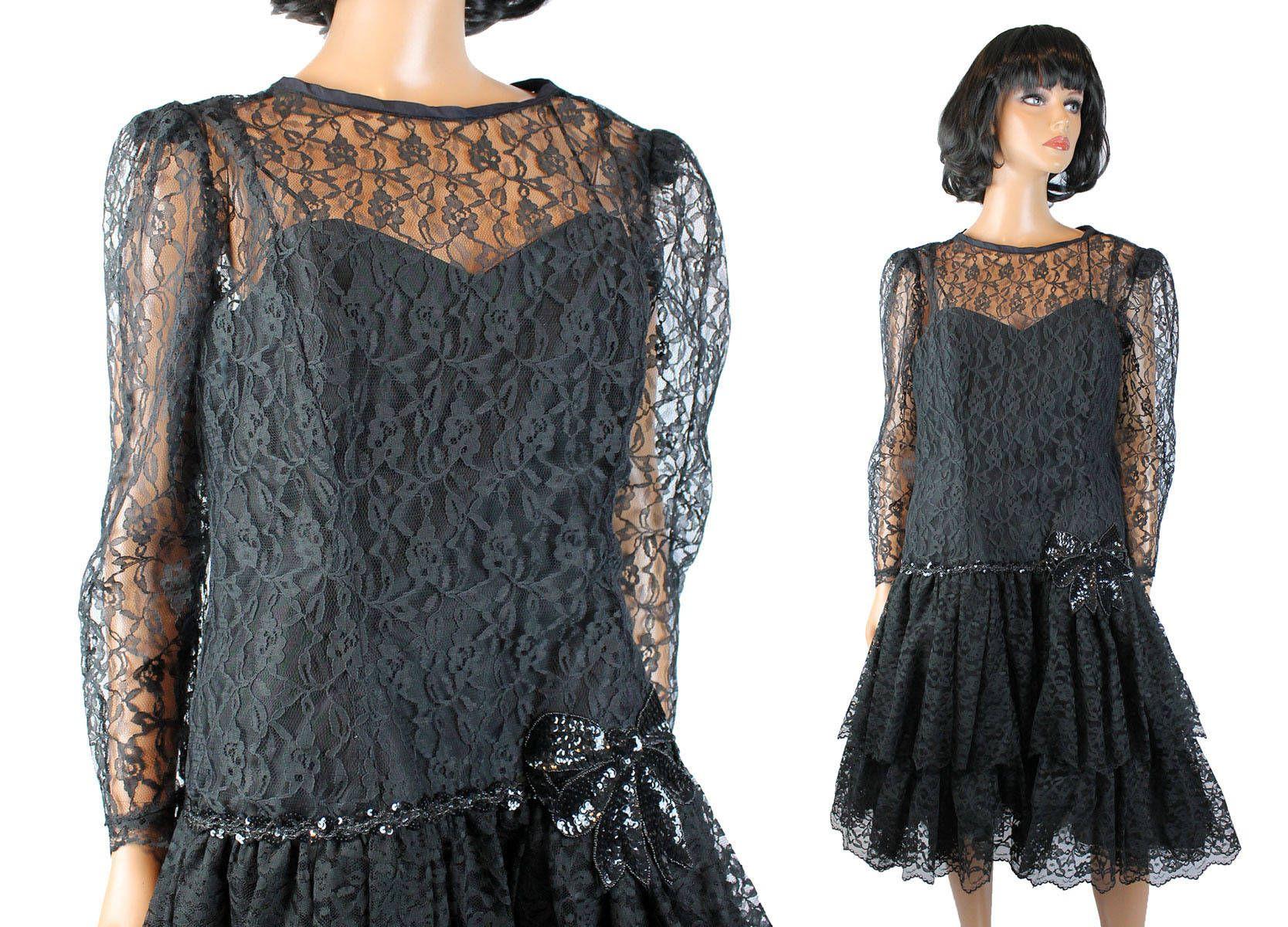 80s Prom Dress Sz L Vintage Black Lace Illusion Tiered Long Sleeve ...