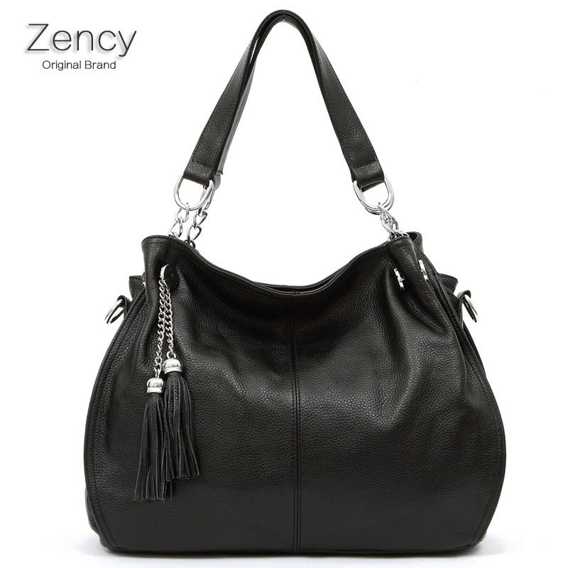9778a4e8d37eec ZENCY Brand Bags Famous Brands 100% Genuine Leather Soft Cow Leather Bag  Women Handbag Shoulder Tote Messenger OL Bag