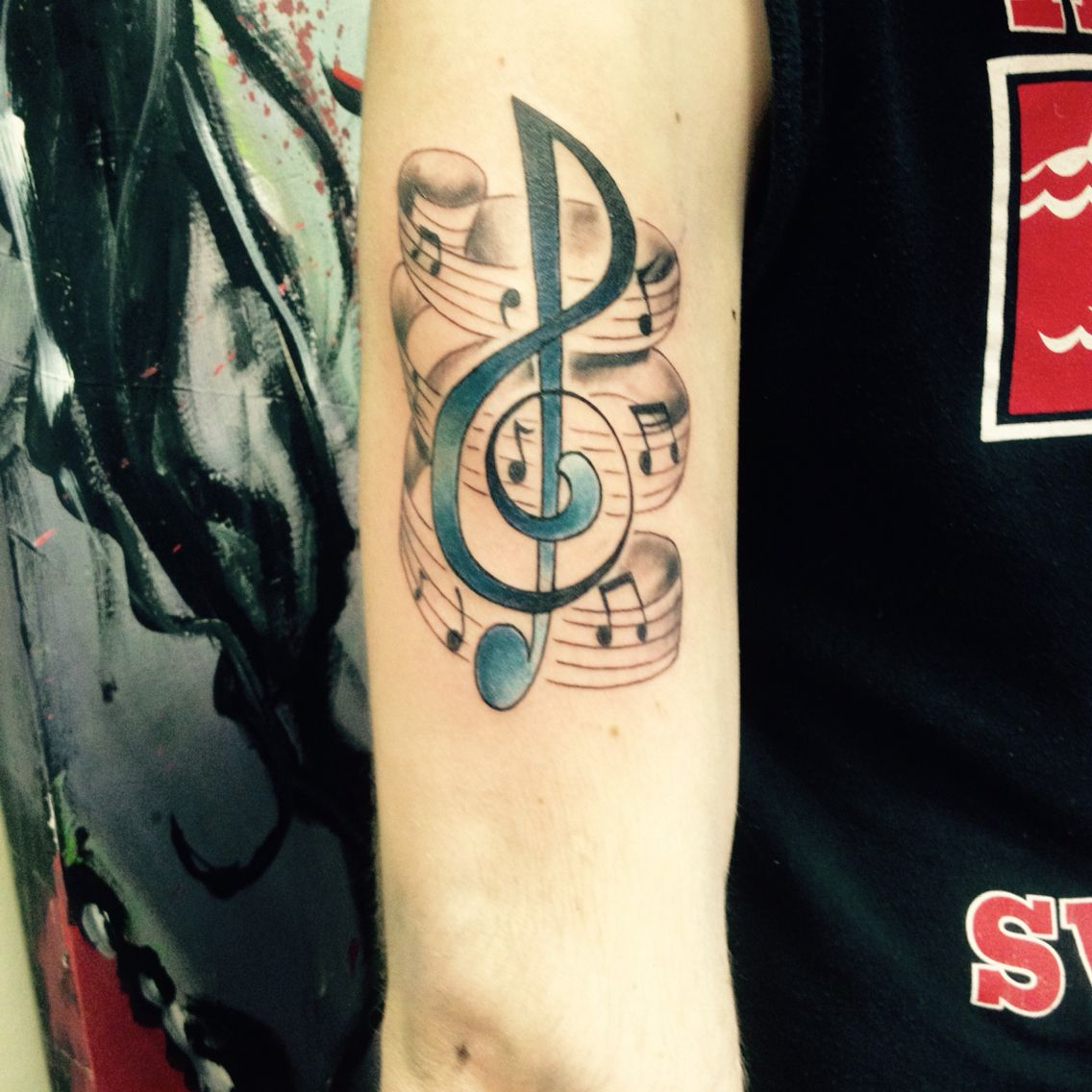 Mu music notes tattoo designs - Music Tattoo Treble Clef Notes And The Staff
