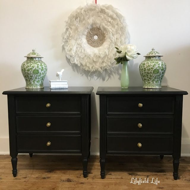 Black Chalk Paint Big Difference Vintage Bedside Table Black Bedside Table Painted Bedroom Furniture