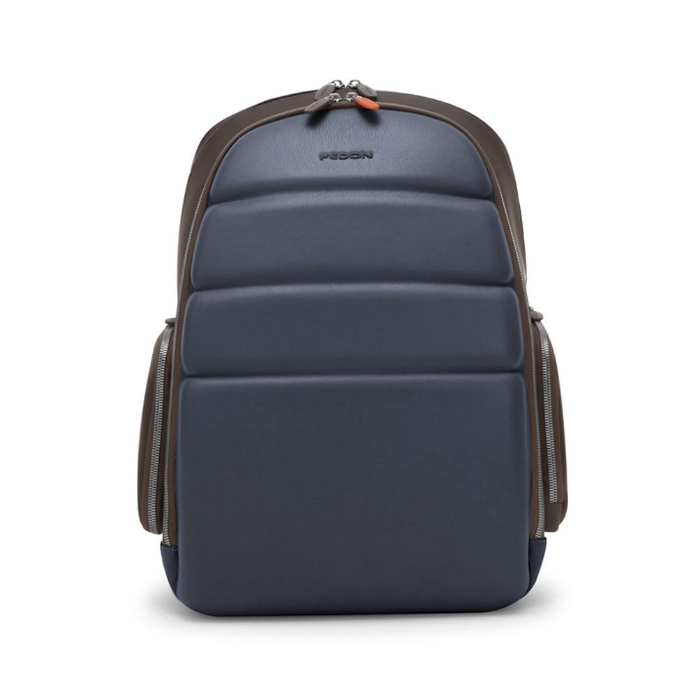 3f68984b1495 Fedon NJP Italian designer blue and brown leather backpack. 2 water  resistant zip compartments