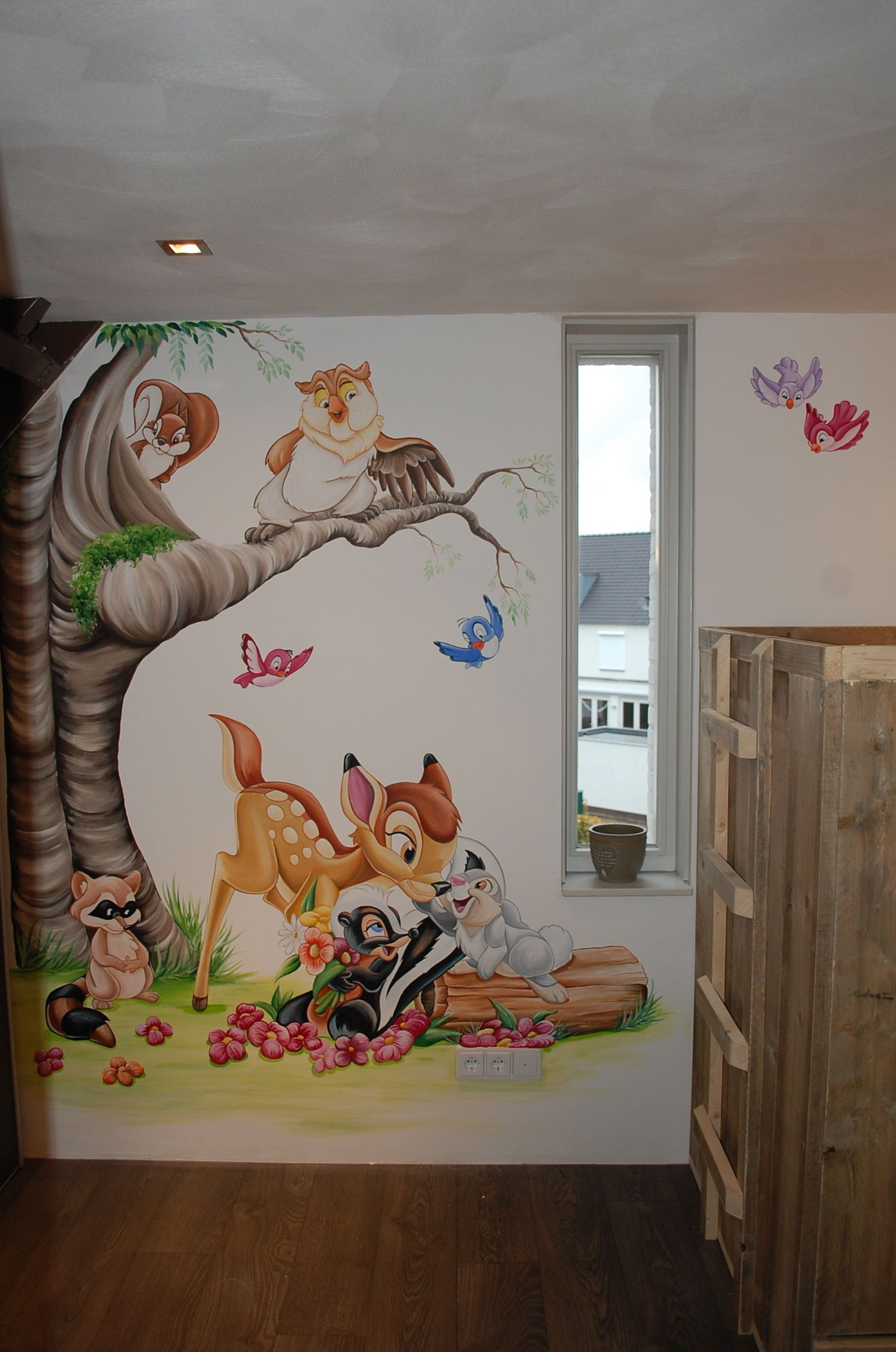 Bambi stampertje bloem muurschildering disney - Disney kinderzimmer ...