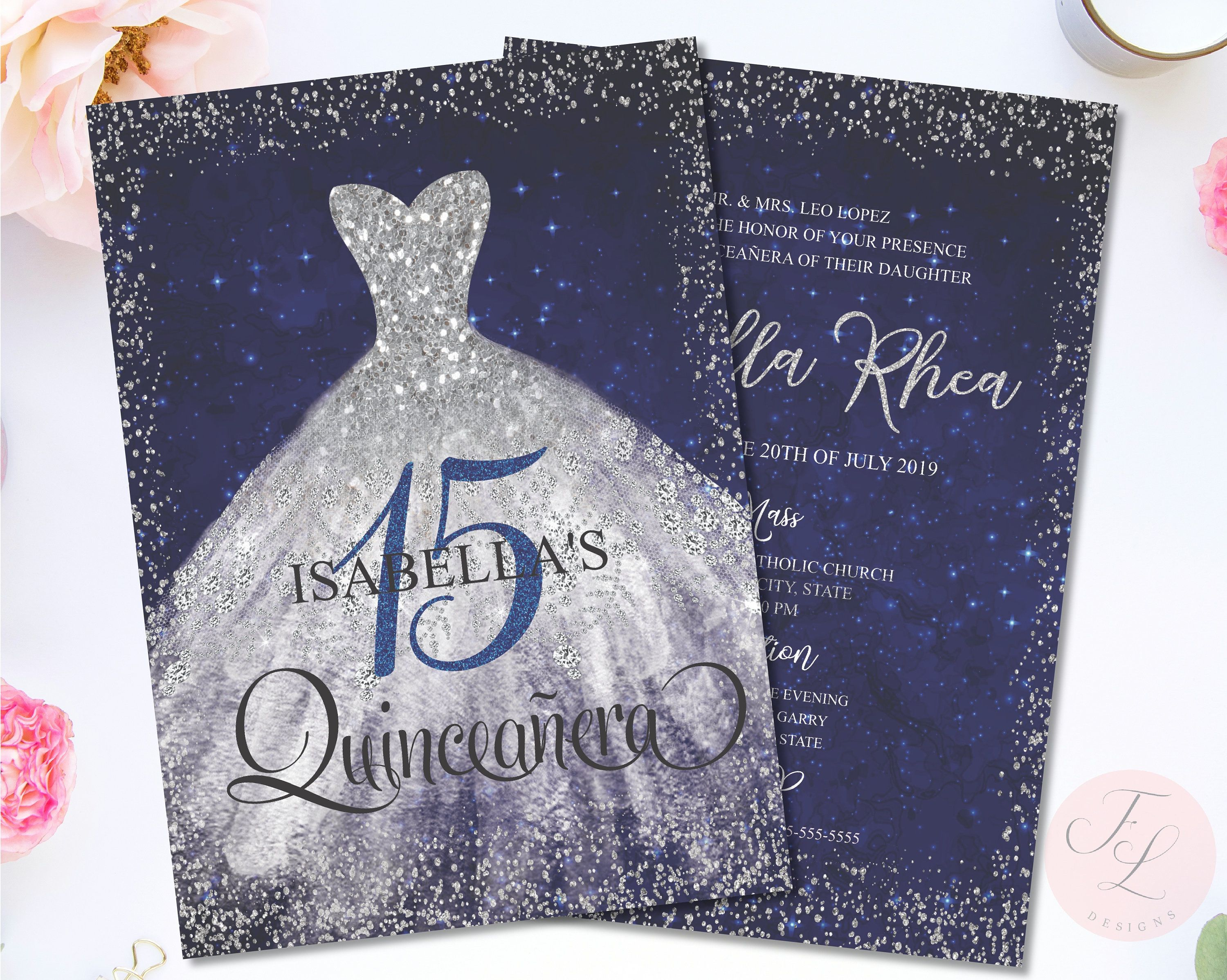 Quinceaneara Invitation Royal Blue And