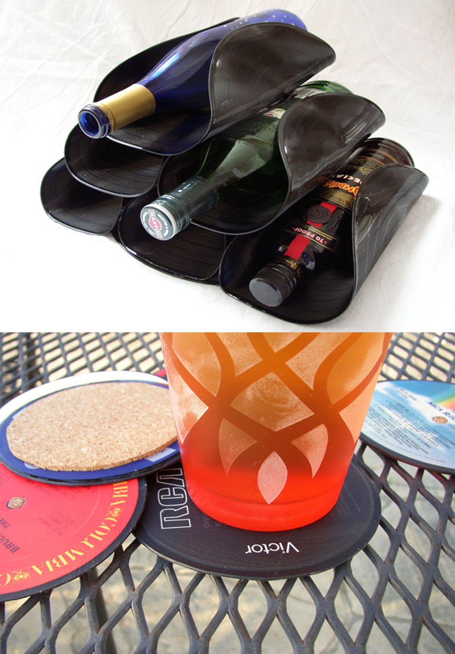 Ausgefallene weinflaschenhalter aus schallplatten diy - Deko schallplatten ...