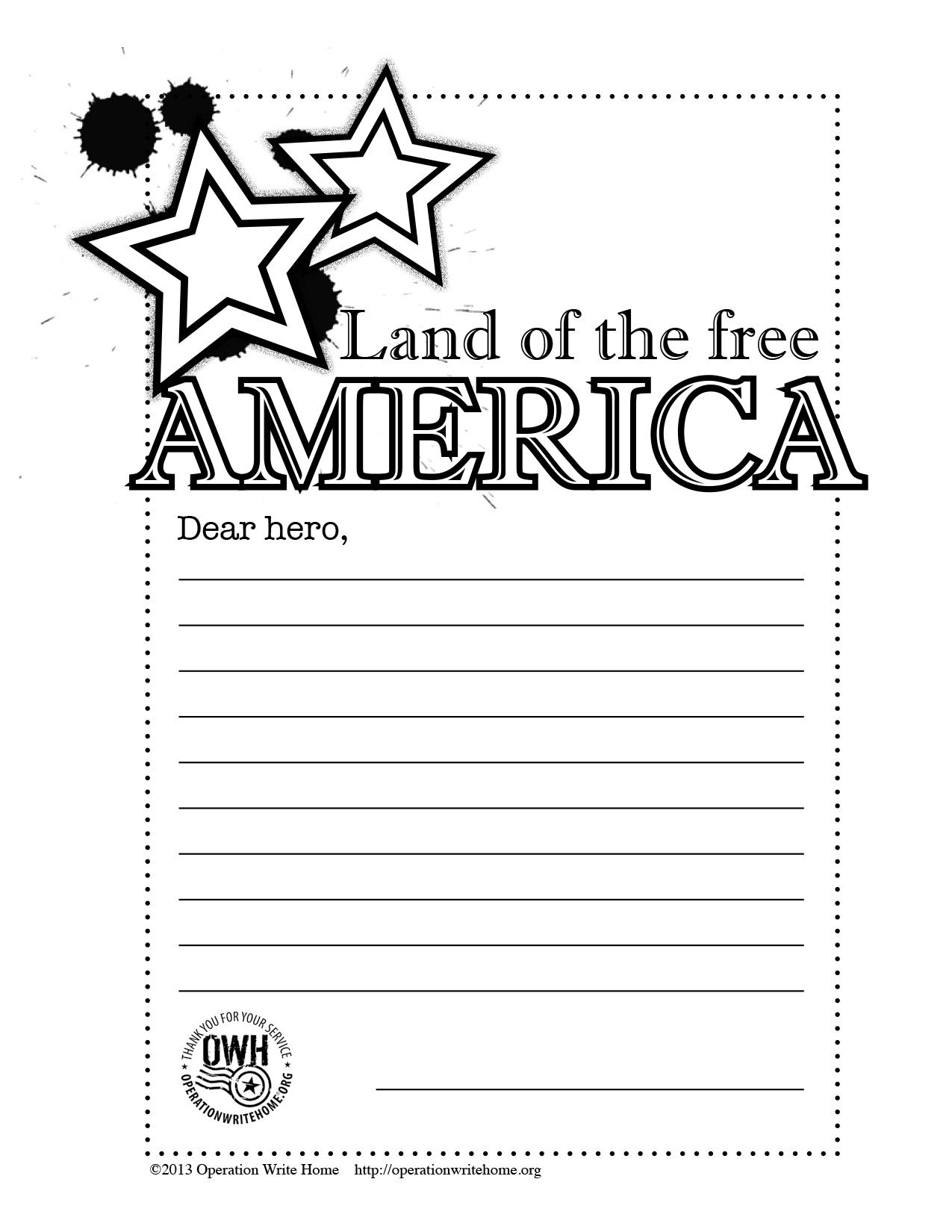 FREE Coloring pages! Operation Write Home Letters to