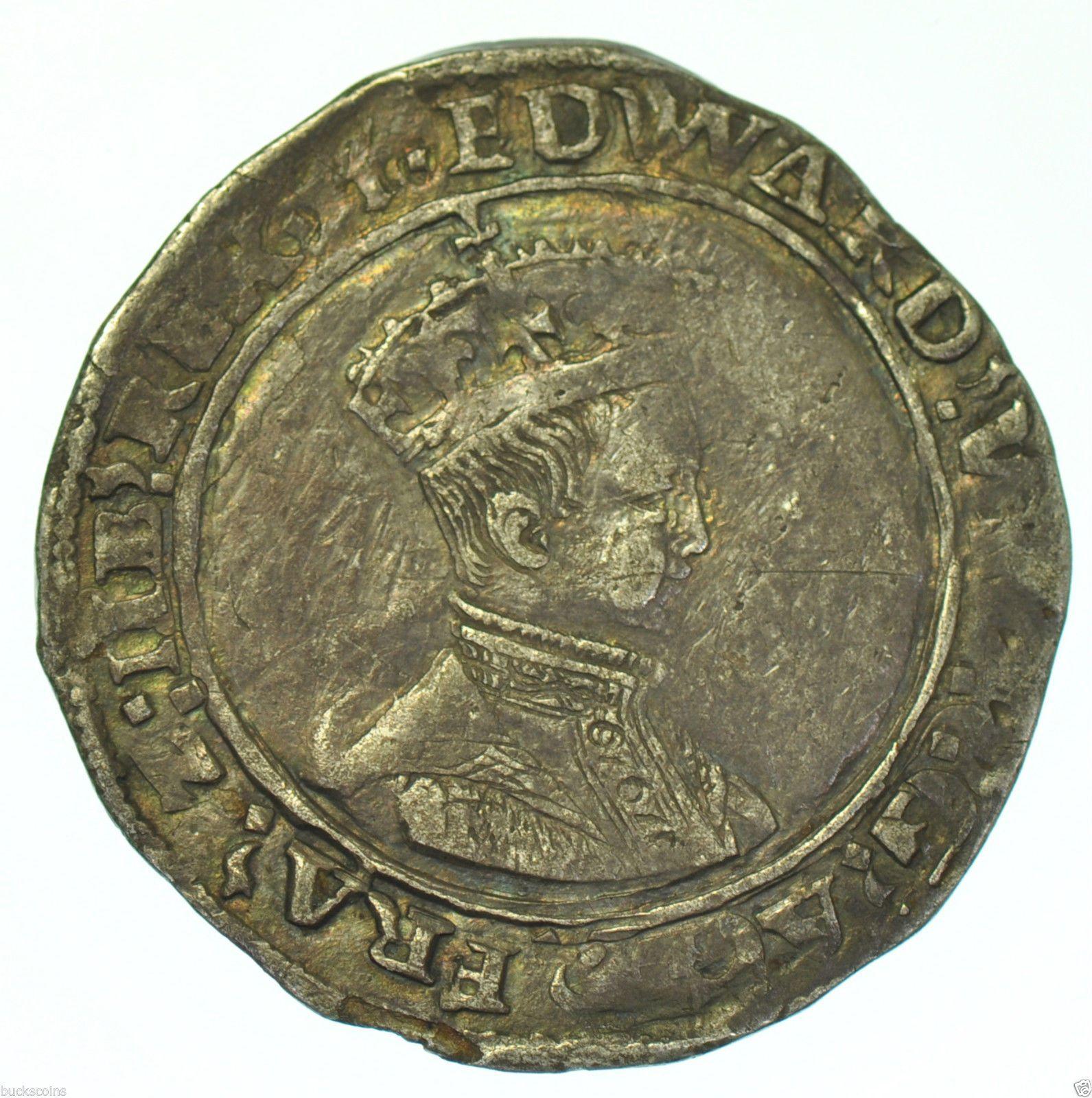 RARE EDWARD VI SHILLING 1549, mm. t, TOWER MINT, BRITISH