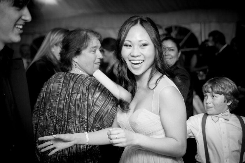funny reception bridesmaid dancing twin oaks garden estate wedding san diego