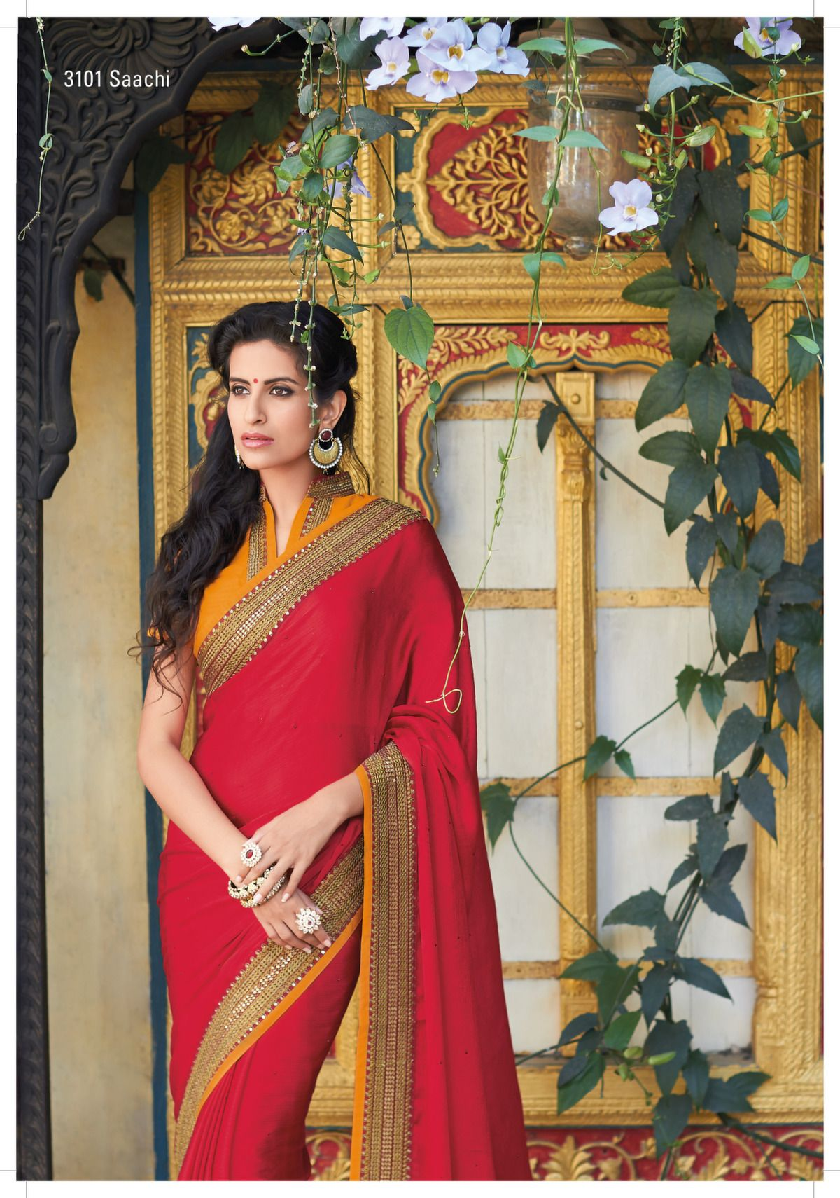 2176d66ee8 Laxmipati Sarees - Stunning sequential heavy jari border on this red  colored satin+chiffon saree is a phenomenal saree with beautiful orange  rawsilk blouse.
