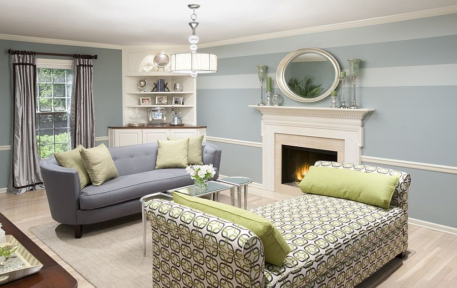 Light Blue And Green Living Room 15 fabulous living rooms with striped accent walls | light blue