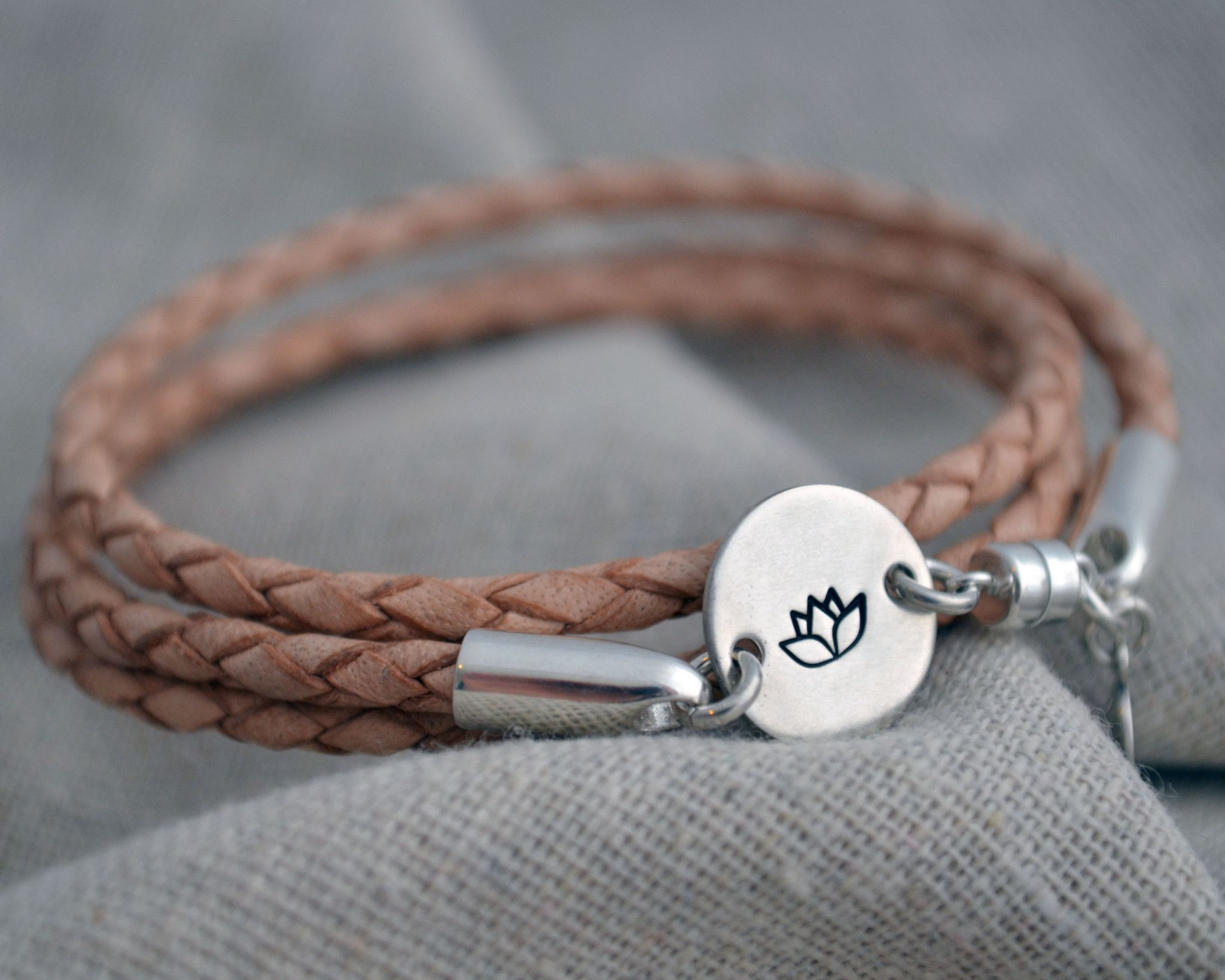 Leather And Sterling Wrap Bracelet, Personalize With Your Own Word, Name Or  Design