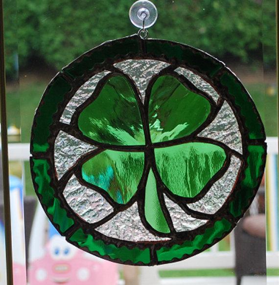 Lucky green clover Lucky shamrock suncatcher Shamrock stained glass suncatcher