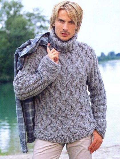 Hombres Suéter Suéter Pescador mano de punto con patrón de cable de ...