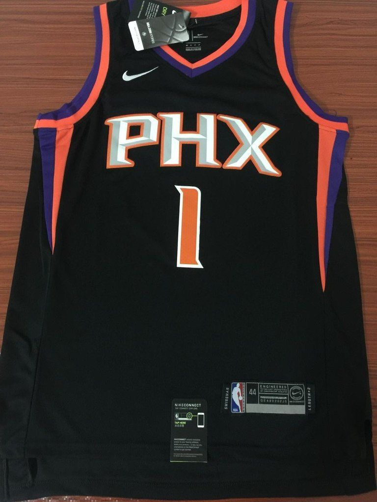 38c444d5a4c Men 1 Devin Booker Jersey Black Phoenix Suns Jersey Fanatics Swingman