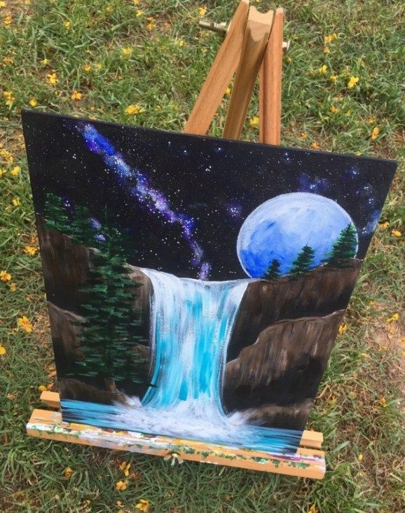 How To Paint A Waterfall With Night Sky is part of Step by step painting, Galaxy painting, Acrylic painting tutorials, Canvas painting tutorials, Acrylic painting diy, Easy canvas painting - Painting a waterfall is very easy! Learn how to paint a waterfall with acrylics with this step by step canvas painting tutorial for beginners