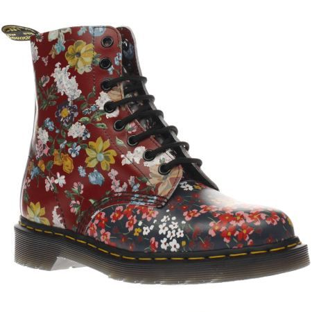 womens dr martens red & navy floral pascal 8 eye boots