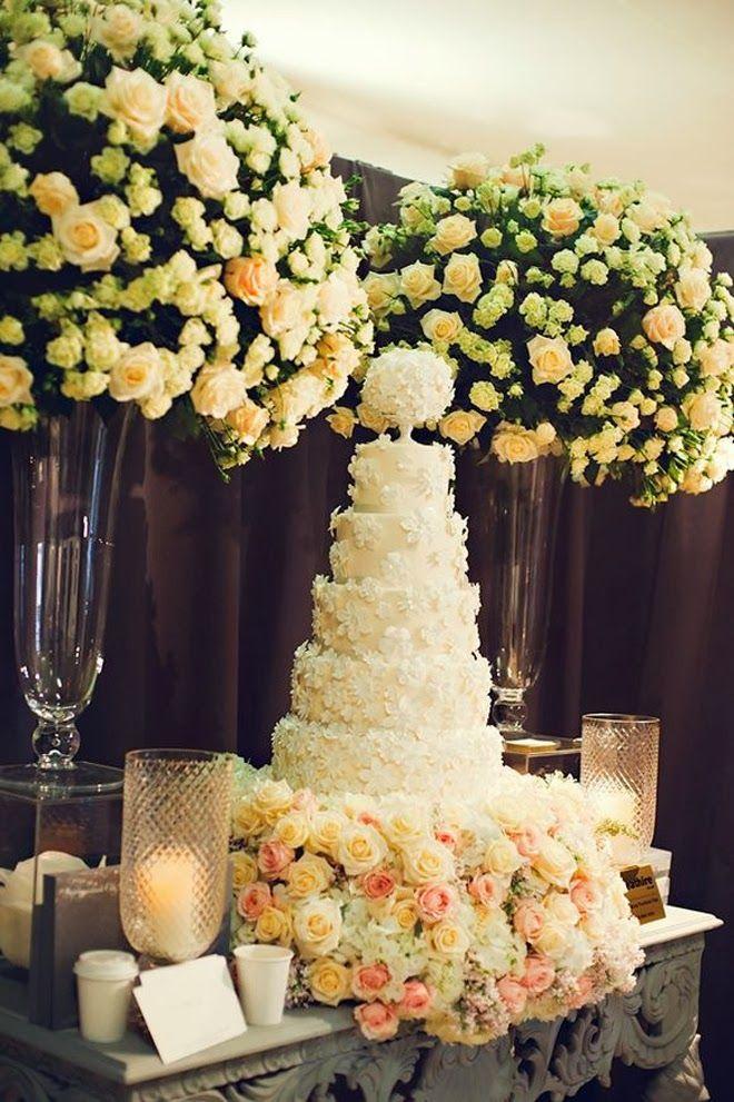 Fabulous Wedding Cake Table Ideas Using Flowers   Floral   Pinterest ...