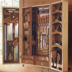 This Wall Mounted Tool Chest Has Space For Every Conceivable Hand Tool Four Layers Of Storage To Be Exa Woodworking Storage Used Woodworking Tools Wood Tools