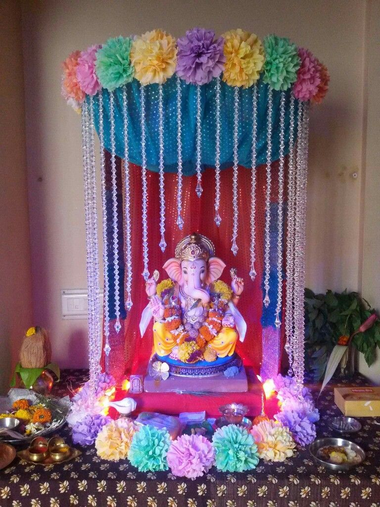 Ganesh Mandap Ganapati Decoration Ganpati At Home Chaturthi Clay Ganesha