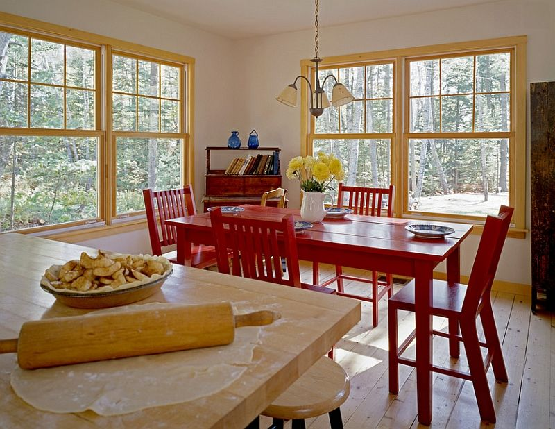 Rustic Dining Room With Red Table And Chairs A Touch Of In The