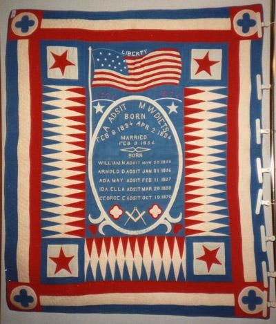 A 1876 Wool Liberty Centennial Quilt Made By M W Diets In Traverse Michigan A Adsit Married M W Patriotic Quilts Patriotic Decorations Blue Quilts