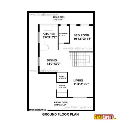 House Plan For 30 Feet By 44 Feet Plot Plot Size 147 Square Yards My House Plans Indian House Plans 30x40 House Plans