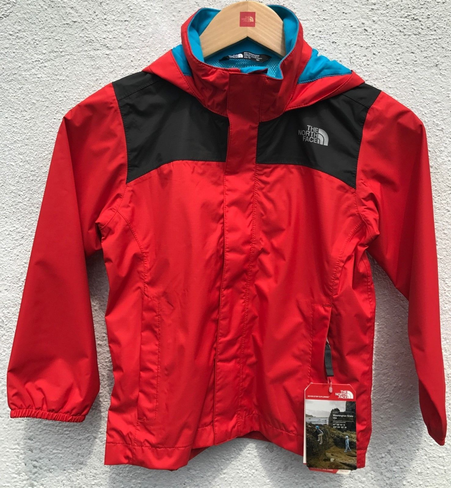 d1715ba05 Boys North Face Resolve RED Rain Jacket (Size: X-Small 6) (eBay Link ...