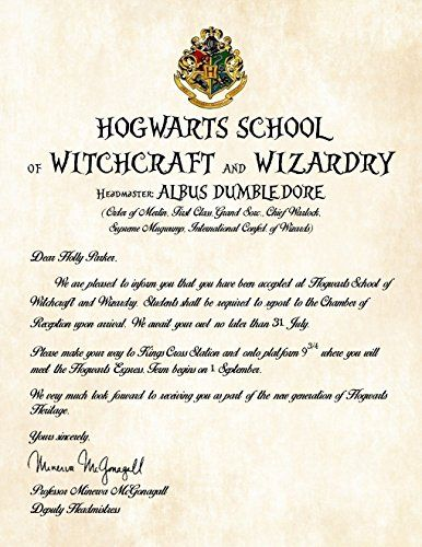 Personalized Harry Potter Acceptance Letter - Hogwarts School of - hogwarts acceptance letter
