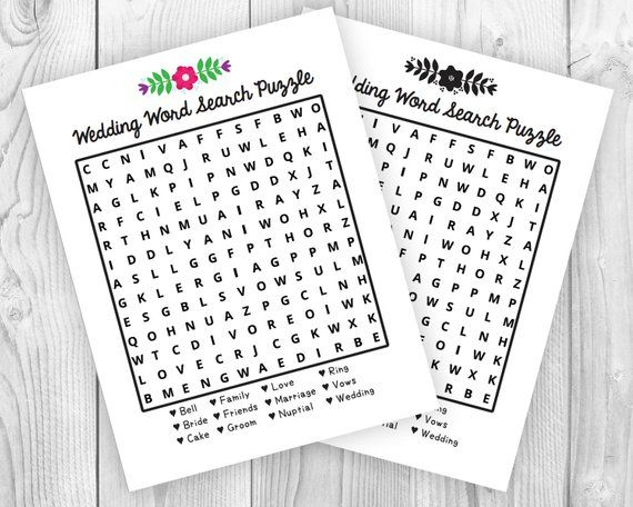 Printable Wedding Activity Word Search Puzzle Wedding Printables Wedding With Kids