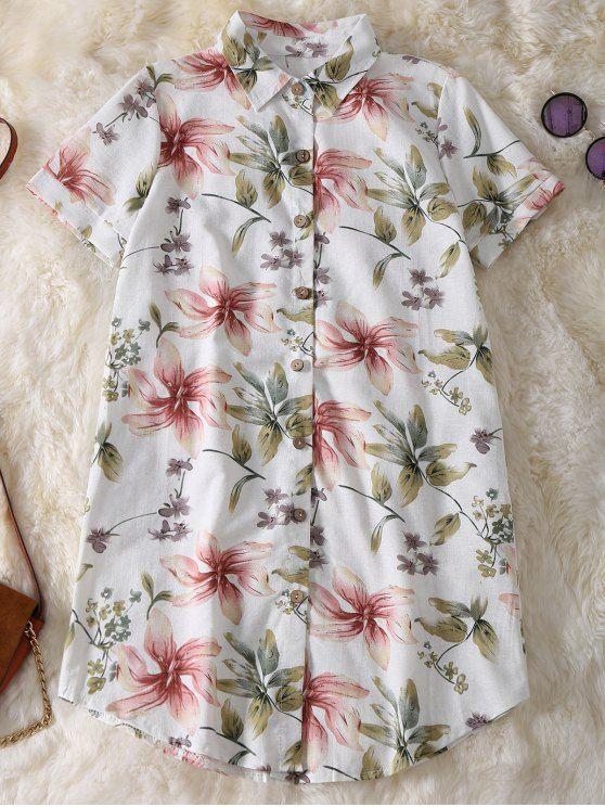 Floral Button Up Tunic Linen Shirt - LIGHT GREEN M