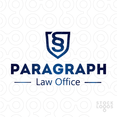 An Abstract Shape Of A Shield With A Symbol Of Paragraph In It Logo