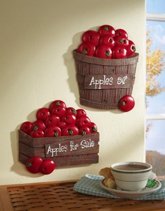 wonderful Apple Decor For Kitchen #4: Bushel of Apples Kitchen Wall Decor (550�701)
