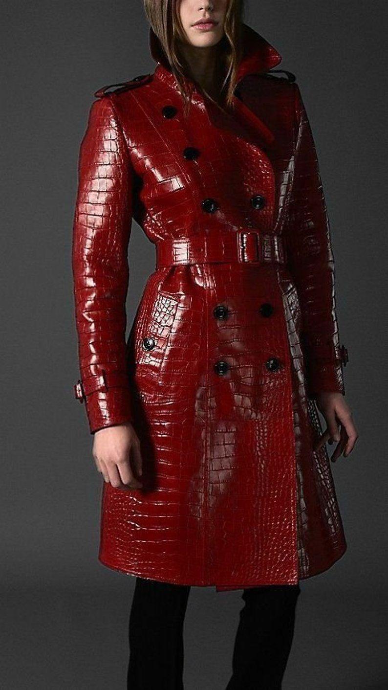women Genuine Cow Alligator Print leather Trench Coat
