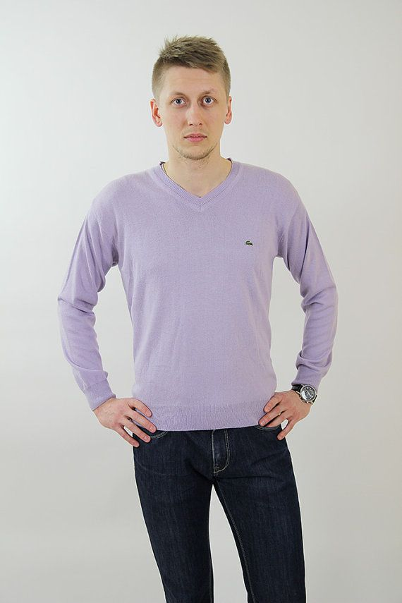 Vintage Lacoste lavender sweater knit jumper V-neck by NylonRoad ...