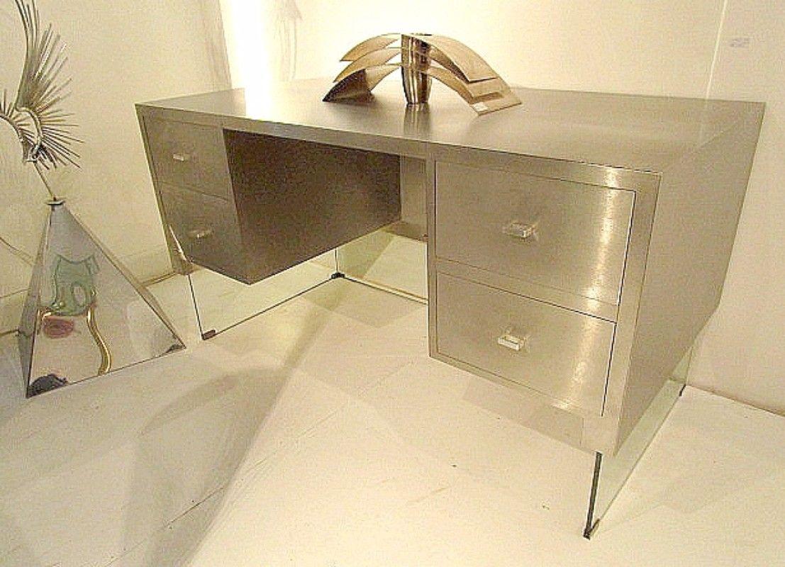 F 062 Ach Elegant bureau verre et acier brossé France 1970 - Furniture - Haute Antiques
