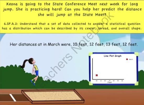 Common Core Math Activity (Long Jump)   Statistics, Line Plot - statistics worksheet