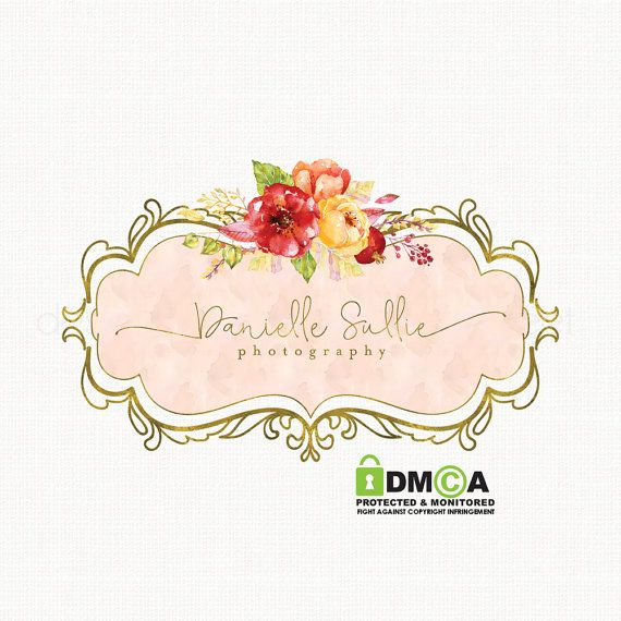 Premade Watercolor Vintage Flower Logo By
