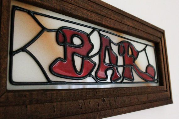 Vintage Bar Sign Stained Gl By Smilehood On Etsy 16 99 Red