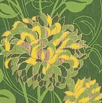 Floral Screenprinted Paper from India- Grass Green Peonies