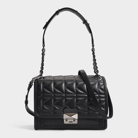 K/Kuilted Crossbody Bag in Gold and Black Calf Leather Karl Lagerfeld Outlet Shop AlXZcqqh