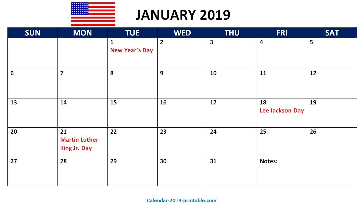 December 2019 Us Calendar With Holidays January 2019 Calendar With Holidays USA | 250+ January 2019